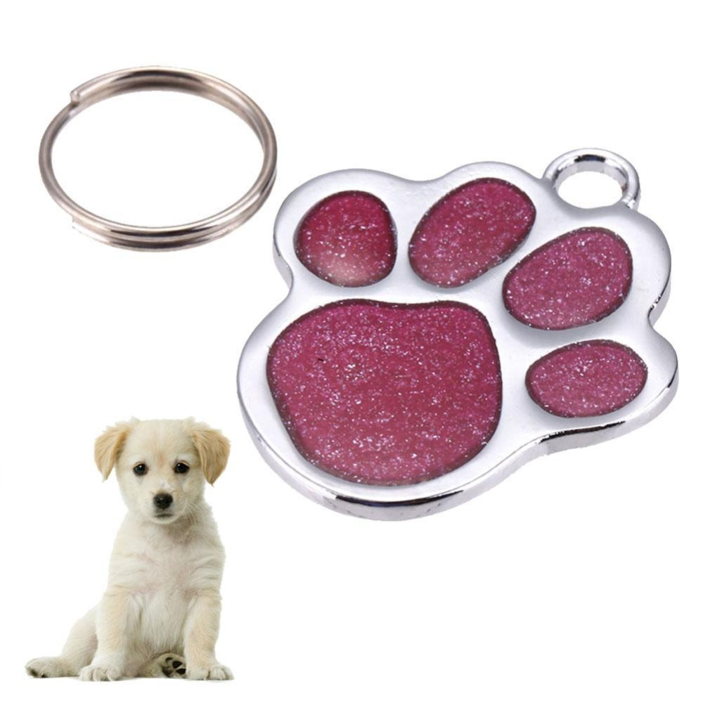 Stainless Steel Pet Dog ID Name Tag Card(Pink) - intl