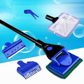 Sunshop 5 in1 Aquarium Brush Cleaning Tools Fish Tank Algae VacuumGravel Cleaner - intl