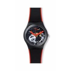 SWATCH GB290 - Red Frame - Jam Tangan Wanita - Bahan Tali Silikon - Hitam - Garis Merah - Transparan Dial