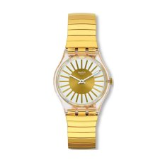 Swatch - Jam Tangan Wanita - Bening-Putih - Rubber Gold - GE248B Rayon De Soleil S