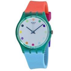 Swatch - Jam Tangan Wanita - Hijau-Putih - Rubber Colourfull - GG219 Candy Parlour