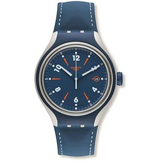 Swatch YES4000 Go Run Blue Leather Strap Watch - intl