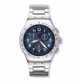 SWATCH YOS455G - BLUE MAXIMUS - Chronograph - Tachymeter - Jam Tangan Pria - Bahan Tali Stainless Steel - Silver - Dial Biru