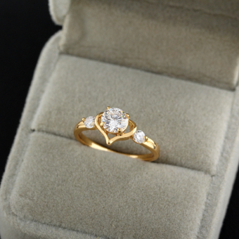 Sweet Cinta Hati Wanita Perhiasan Cincin Tembaga 18 Karat Emas #8 Fil USA - 2