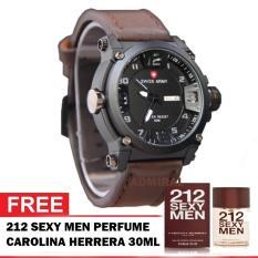 swiss army 1441 DBR jam tangan pria tali kulit - Genuine Leather Strap - water resistant 50M - bonus parfum Sexy men carolina herrera / Dunhil Desire Blue 30ml