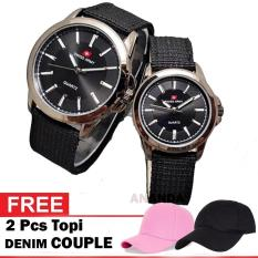 Swiss Army Couple Jam Tangan Pria dan Wanita Original Canvas / Kanvas Strap Bonus Topi Couple ( Couple Goals )