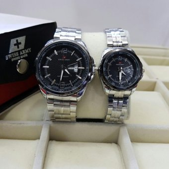 Sa874fdr55 Source · Swiss ARMY Couple Stainless Steel BlacK SILVER ST985HGF65 .