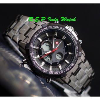 Swiss Army Dual time - SA5155M - Jam Tangan Pria - Stainless Stell