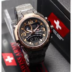 Swiss Army Fashion ORY Fitur Dual Time Toko Grosir 2200M_ Jam Tangan Pria Stainlesstell Terbaru