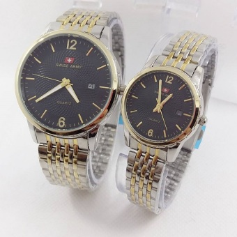 Swiss Army - Jam Tangan Couple - Strap Stainless - SA1176 Silver Black Gold