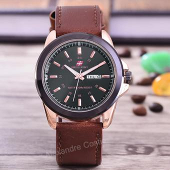 Swiss Army - Jam Tangan Pria - Body Rose Gold- Black Dial - Brown Leather