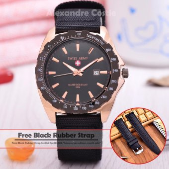 Swiss Army - Jam Tangan Pria - Body Rose Gold - Black Dial - Nylon Strap