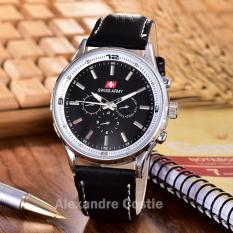 Swiss Army - Jam Tangan Pria - Body Silver - Black Dial - Black Leather -