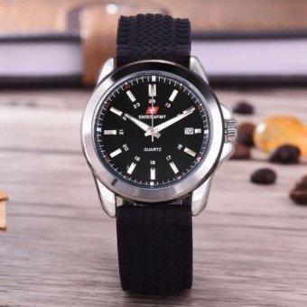 Swiss Army - Jam Tangan Pria - Body Silver - Black Dial - Black Rubber Strap