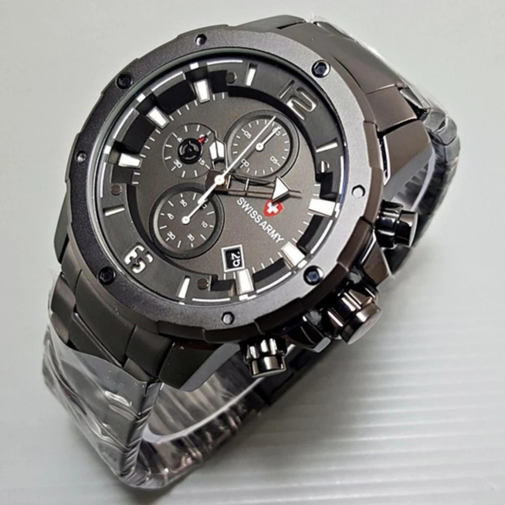 SWISS ARMY jam tangan pria terbaru original chrono aktif stenleesteel black SA 7283 ART