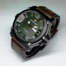 Swiss Army -Watch -Jam tangan Pria -Cowo -Model Fashion -Formal -Tanggal Aktif Leather Keren