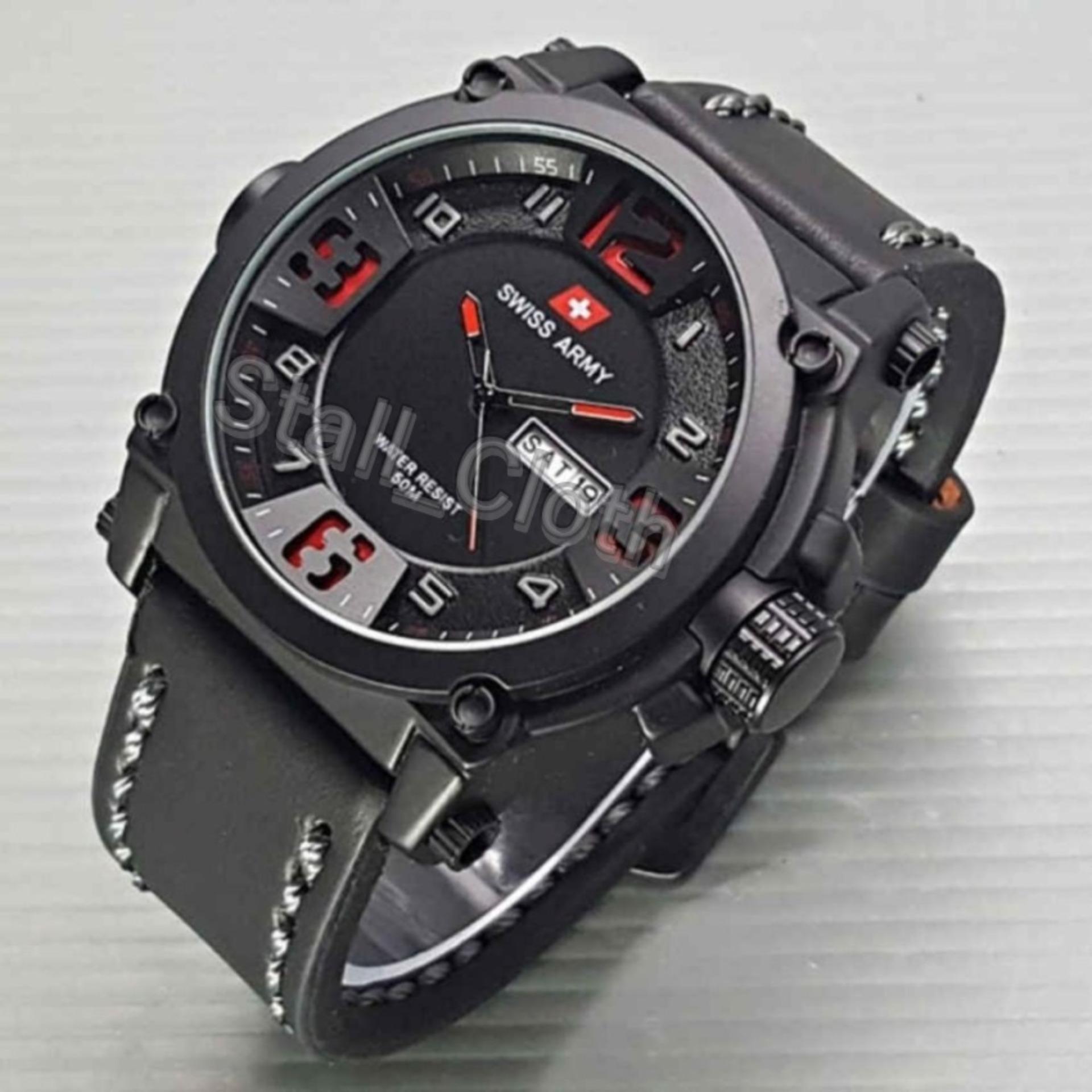 Swiss Army Watches Leather Strap Terbaru - Jam Tangan Fashion Pria Original -