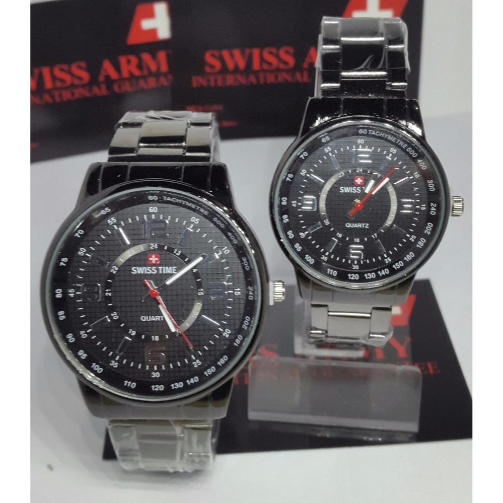 Jam Tangan Couple Series Swiss Army Strap Kulit Hitam Dial Putih Sa 6635 Tali Sa445 Terbaru