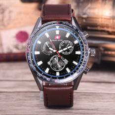 Swiss swiss Jam Tangan Pria - Body Black – Black Dial – Brown Leather Strap - SA-KLT-3435B-Coklat