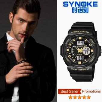 ***Synoke 66866*** Digital perhiasan olahraga luar ruangan tahan air 50 m pria jam tangan emas