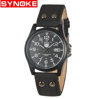 SYNOKE Men Watches Top Brand Luxury Men SportS Table Matte Imitation Leather Outdoor Student Quartz Watch Wristwatch - intl