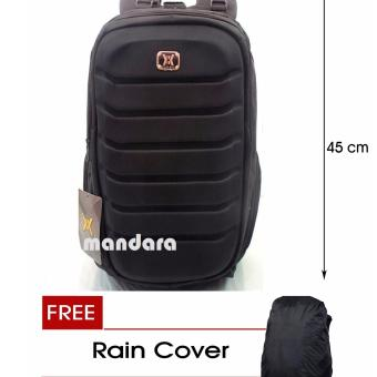 Tas Ransel Laptop Emboss Backpack + Free Raincover Gear Bag