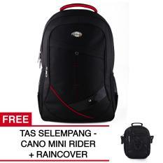 Tas Ransel Polo USA Baracuda Tas Laptop Backpack - Black + Raincover + FREE Tas Selempang Mini Cano Rider Tas Pria Tas Kerja Tas Messenger Tas Slempang Tas Fashion Pria