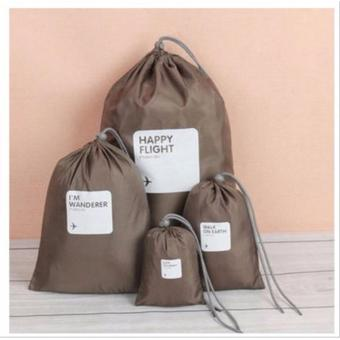Tas Travel Bag Happy Flight 4 in 1 Tas serut, Travel Organizer - COKLAT