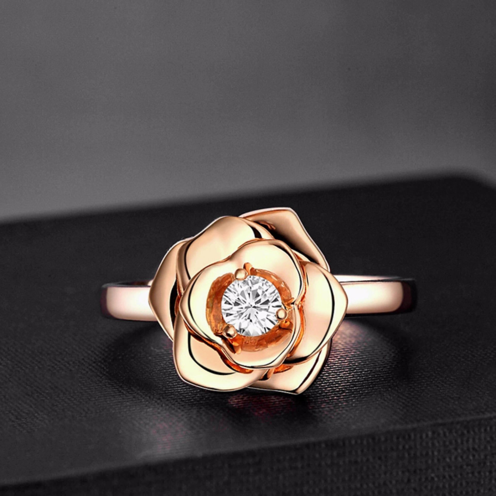 Tiaria Resplendent Rose Pendant Liontin Zircon Dan Emas 9k Daftar Dhtxdfj047 Perhiasan Cincin Putih White Gold Ring Tunangan Wanita With