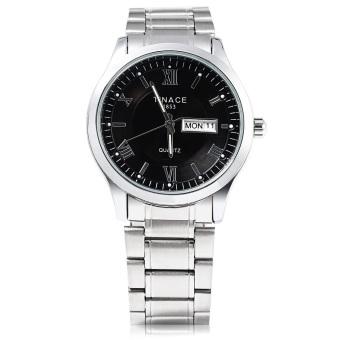 TINACE 1868 F560 Male Quartz Watch Complete Calendar Luminous Pointer Water Resistance Wristwatch (BLACK)
