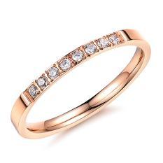 Titanium Steel cincin Fashion jewelry Zircon cincin untuk Women (Rose emas)