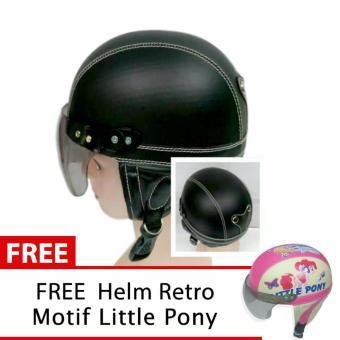 Toserba - Helm Anak Lucu Usia 1-4 Tahun Polos Hitam + Free Motif Litle