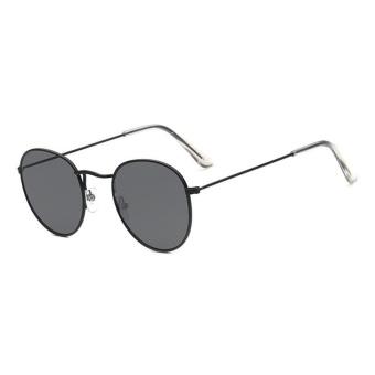 Tren kacamata baru Round Sunglasses Bright reflektif berjemur kacamata - kotak hitam Gray lembar