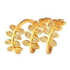 U7 Bungkus Daun Kubik Zirconia Cincin Untuk Wanita 18 Karat Asli Berlapis Emas Fashion Aksesoris Perhiasan (Emas)