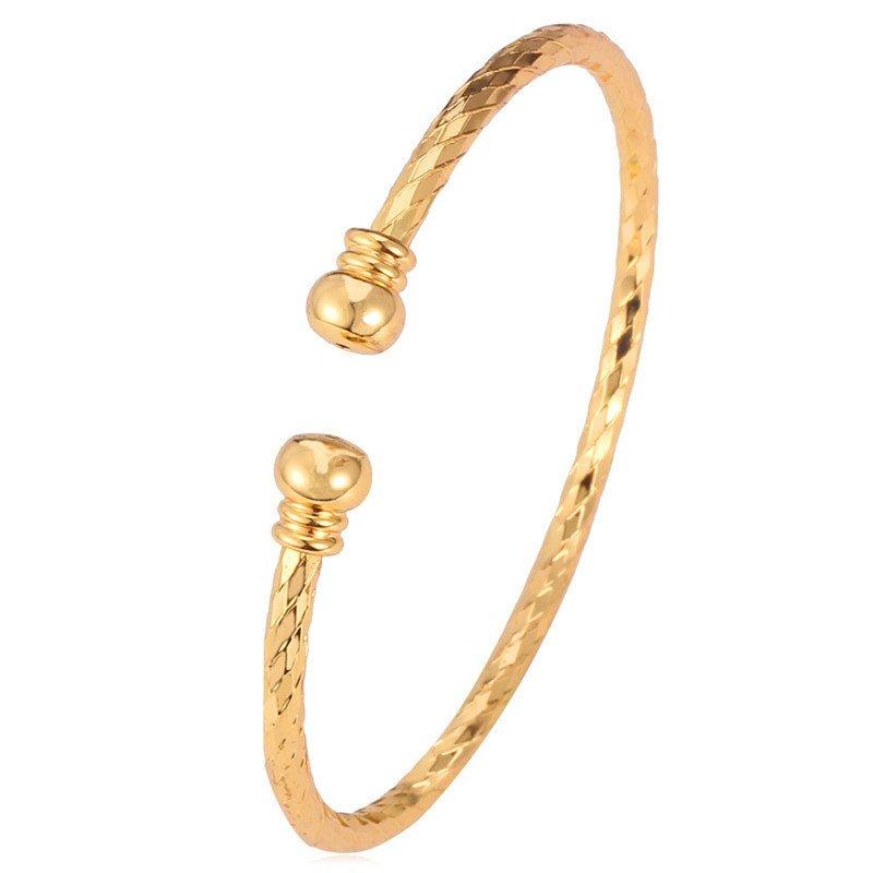 ... U7 Desain Sederhana Gelang Borgol 18 KB Nyata Emas Berlapis FashionWanita Aksesoris Perhiasan Hadiah Sempurna ...
