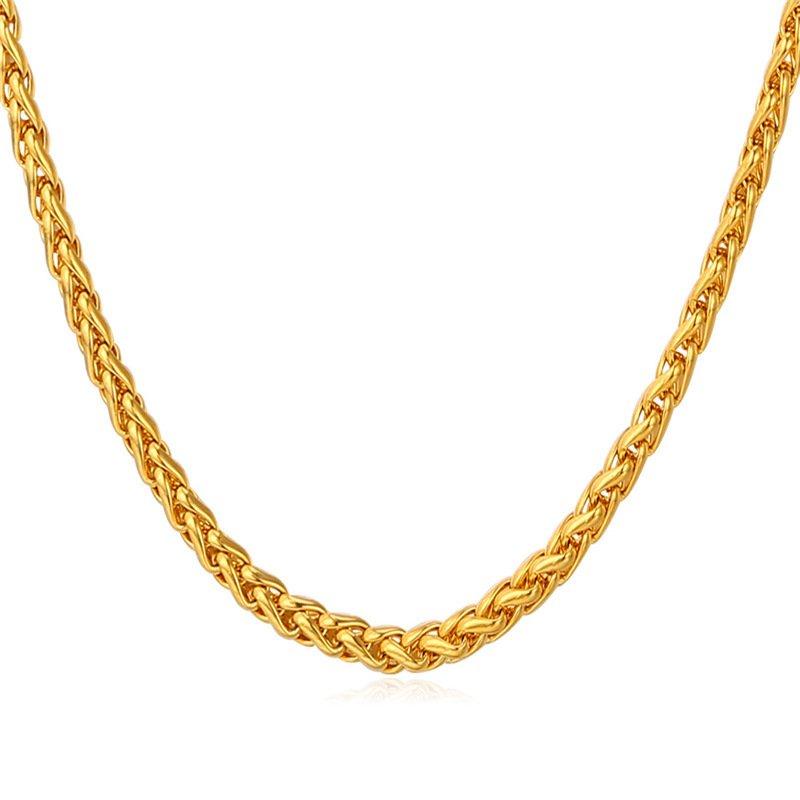 ... U7 Fashion Untuk Pria/Wanita Kalung Rantai 18 KB Nyata Emas Berlapis Emas Aksesoris Perhiasan ...