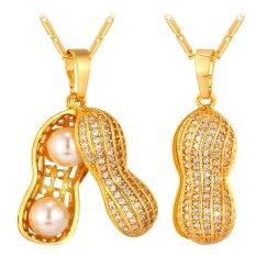 U7 Kacang Perhiasan Mewah Mutiara Kubik Zirconia 18 KB Nyata Emas Berlapis Liontin Kalung (Emas