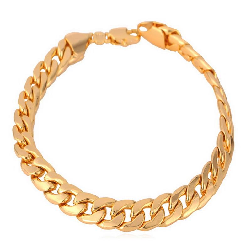 Flash Sale U7 Rantai Kuba Link 18 KB Emas Berlapis Gelang Laki-Laki Perhiasan (Emas)
