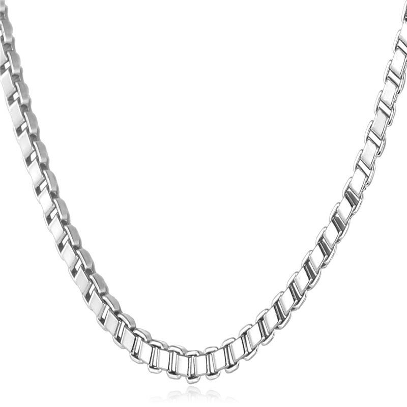 ... U7 sederhana emas kotak kalung rantai 55.88 cm Berlapis PlatinumFashion wanita/Pria hadiah perhiasan ...