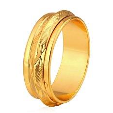 U7 Sederhana Pasangan Sekitar Multi Layer 18 KB Cap Band 18 KB Nyata Emas Berlapis Pernikahan Fashion Perhiasan (Emas)