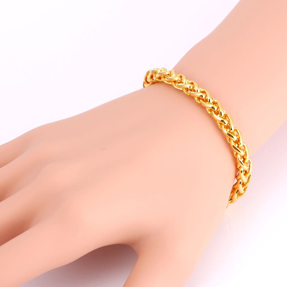 ... U7 Spiga Gandum Gelang Rantai Link 18 KB Nyata Emas Berlapis Fashion Perhiasan Aksesoris Pria Rantai ...