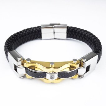 UINN Fashion Fine Jewelry Men Leather Titanium Steel Bracelets Male Bracelet Silver & black - intl