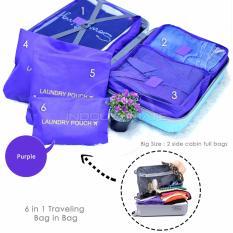 ULTIMATE BIG SIZE Travel Bag Organizer 6 in 1 OR 60-03 / Koper Bag in Bag - PURPLE