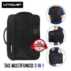 Unique Tas Ransel Backpack 3in1 ( Ransel, Softcase, dan Slempang ) 34685 Model Palace - Hitam