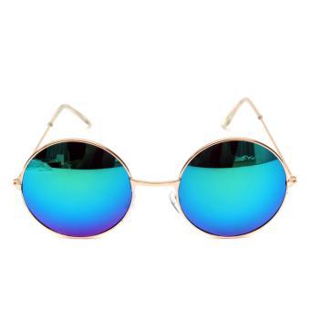 Unisex Vintage Round Metal Frame Sunglasses 210 BLUE - Kacamata Wanita - 2