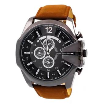 V6 Jam Tangan Fashion Pria Strap Kulit Sintetis Wristwatch Analog Casual Men Leather Watch - Brown Balck