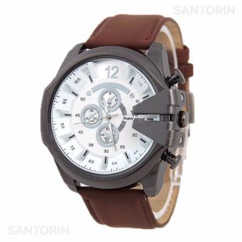 V6 Jam Tangan Fashion Pria Strap Kulit Sintetis Wristwatch Analog Casual Men Leather Watch - Brown White