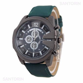 V6 Jam Tangan Fashion Pria Strap Kulit Sintetis Wristwatch Analog Casual Men Leather Watch - Green Black