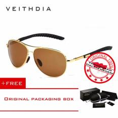 VEITHDIA Kacamata Pria Hitam Aluminium Sport dan Travel Elegant Mirrored UV400 Polarized Sunglasses - 3088 Free Kotak Hardcase