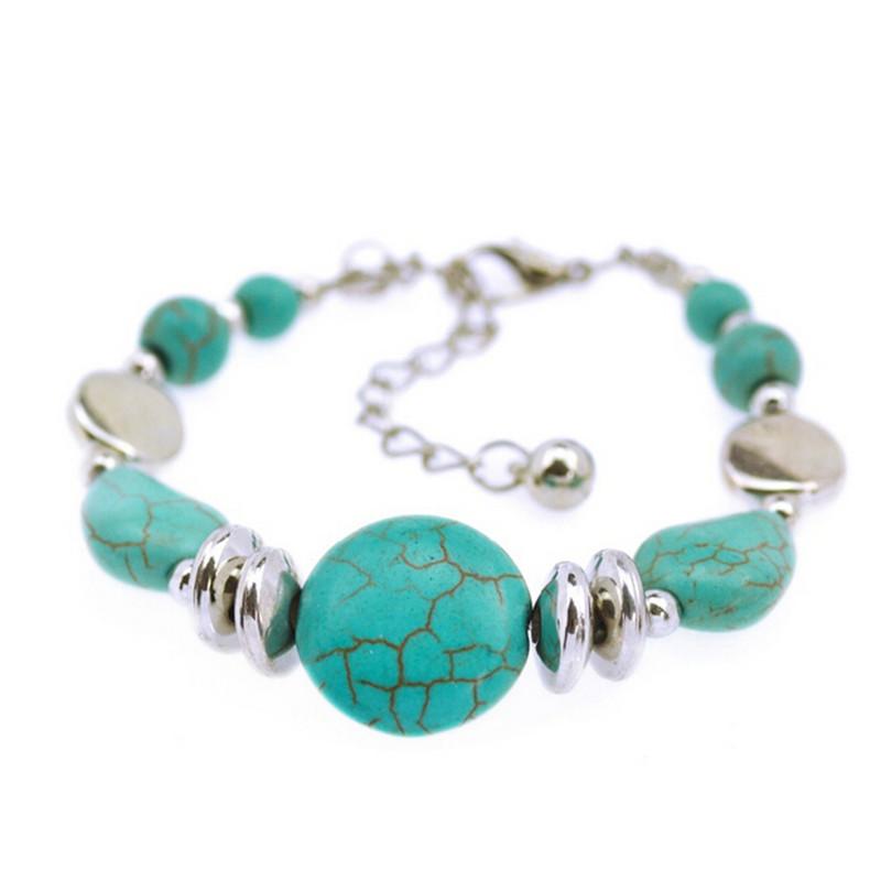 Velishy Vogue Silver Chic Round Turquoise Bracelet Boho Bangles Beads Bracelets Green - Intl